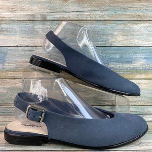 Trotters Alice Blue Suede Slingback Mules